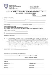 Application for Renewal of Gravesite