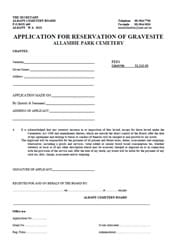 Application for Reservation of Gravesite